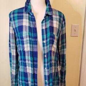 SO perfect shirt flannel relax fit medium blue/tea